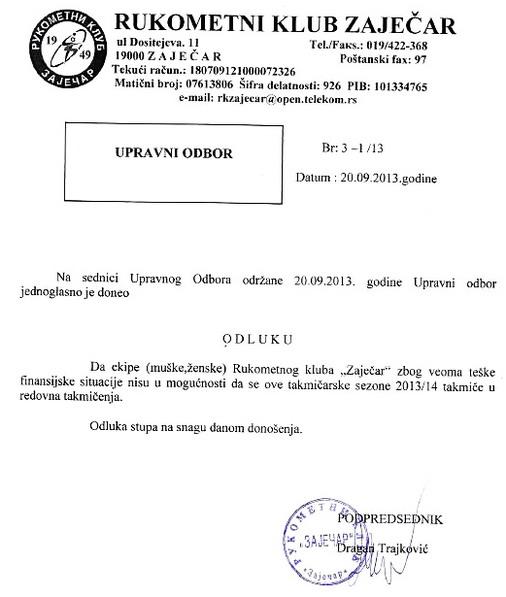 Odluka RK Zaječar o istupanju iz takmičenja