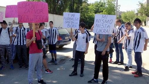 Protest mladih fudbalskih nada grada bakra / foto: IST Media