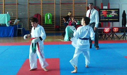 """Nikola Radovanović, (plavi pojas - prvi s desna), osvajač zlatne medalje u borbama u kategoriji """"nada"""" (11 godina)"""